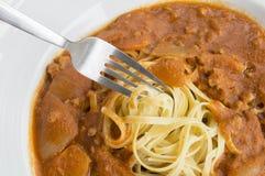 fresh homecook spaghett on wooden Royalty Free Stock Image