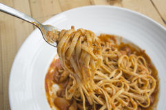 fresh homecook spaghett on wooden Royalty Free Stock Images