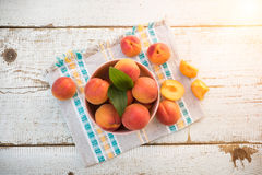 Fresh homegrown apricots on vintage white wooden table Royalty Free Stock Image