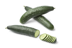 Fresh homegrown cucumbers. On white background Royalty Free Stock Photography