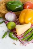 Fresh homegrown vegetables and chees Stock Image