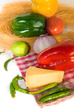 Fresh homegrown vegetables and chees Stock Photos