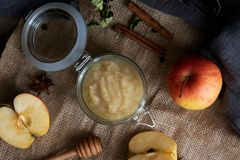 Fresh homemade applesauce with apples. On a wooden table Royalty Free Stock Image