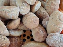 Fresh homemade baked bread in abundance. Detail of a fresh homemade baked bread in abundance stock photography