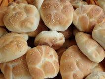 Fresh homemade baked bread in abundance. Detail of a fresh homemade baked bread in abundance stock images