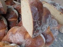 Fresh homemade baked bread in abundance. Detail of a fresh homemade baked bread in abundance stock image