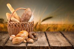 Fresh homemade bread loaves in basket on nature. Fresh homemade basket bread close up background close-up royalty free stock photo