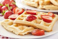 Fresh Homemade Belgium Waffles Stock Photos