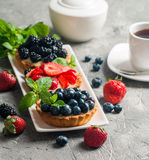 Fresh homemade berrie tarts. With blueberries, blackberry and strawberries on gray background royalty free stock image