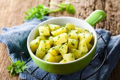 Boiled Potatoes with Parsley stock image