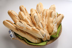 Fresh homemade Bread. Homemade french bread in Basket Stock Photos