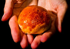 Fresh homemade bread roll with sesam seed. Fresh homemade bread rolls with sesam seed on table royalty free stock photo
