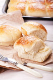 Fresh homemade bread rolls. With sesam seed on table Stock Photos