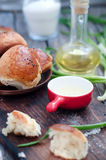 Fresh homemade bread rolls. With sesam seed on table Stock Images