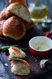 Fresh homemade bread rolls. With sesam seed on table Royalty Free Stock Image