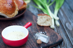 Fresh homemade bread rolls. With sesam seed on table Royalty Free Stock Photos