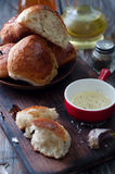 Fresh homemade bread rolls. With sesam seed on table Stock Image