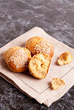Fresh homemade bread rolls with sesam seed on table, top view. Fresh homemade bread rolls with sesam seed on table, close up, vertical Stock Image