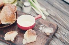 Fresh homemade bread rolls . Toned photo. Fresh homemade bread rolls with sesam seed on table . Toned photo Stock Images