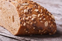 Fresh homemade bread with seeds and nuts closeup Royalty Free Stock Photos
