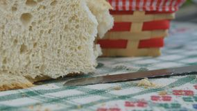 Fresh Homemade Bread Sliced on the Table in the Kitchen stock photo