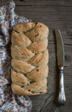 Fresh homemade bread with whole wheat flour, flax seeds and pecans Stock Photography