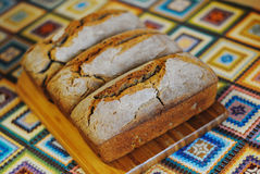 Fresh homemade bread on wooden board Stock Images