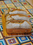 Fresh homemade bread on wooden board Royalty Free Stock Images
