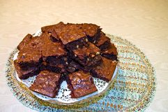 Fresh Homemade Brownies Royalty Free Stock Photography