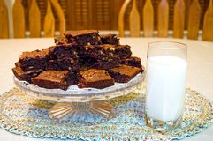 Fresh Homemade Brownies and Milk Stock Photo