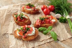 Fresh homemade bruschetta Stock Image