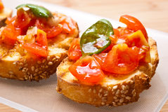 Fresh homemade bruschette Stock Images