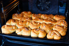 Fresh homemade buns in oven Royalty Free Stock Images