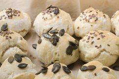 Fresh homemade buns. With seeds Stock Photography