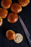 Fresh homemade burger buns Royalty Free Stock Photos