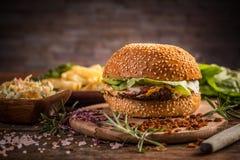 Fresh homemade burger Stock Photos