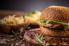 Fresh homemade burger Stock Photography