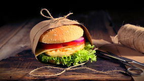 Fresh homemade burgers with eggs to takeaway stock footage