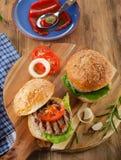 Fresh homemade burgers Stock Photos