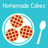 Fresh homemade cakes on the plate. Flat style vector illustration Stock Photography