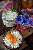 Fresh homemade cheese with apricot jam Stock Image
