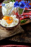 Fresh homemade cheese with apricot jam Royalty Free Stock Photography