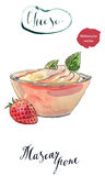 Fresh homemade cheese mascarpone in a bowl with strawberry   Stock Photography