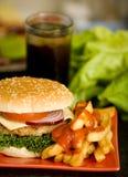 Fresh homemade cheeseburger Stock Images