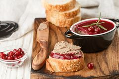 Fresh homemade chicken liver pate rabbit, goose. With cranberry sauce. Gourmet appetizer. Selective focus stock photography