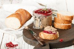 Fresh homemade chicken liver pate rabbit, goose. With cranberry sauce. Gourmet appetizer. Selective focus stock images