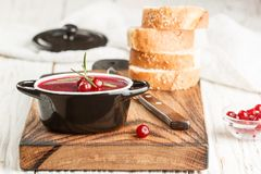 Fresh homemade chicken liver pate rabbit, goose. With cranberry sauce. Gourmet appetizer. Selective focus royalty free stock photo