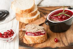 Fresh homemade chicken liver pate rabbit, goose. With cranberry sauce. Gourmet appetizer. Selective focus royalty free stock images