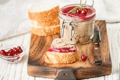Fresh homemade chicken liver pate rabbit, goose. With cranberry sauce. Gourmet appetizer. Selective focus stock photo