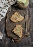 Fresh homemade chicken liver pate on toast with vegetables homemade bread Royalty Free Stock Images